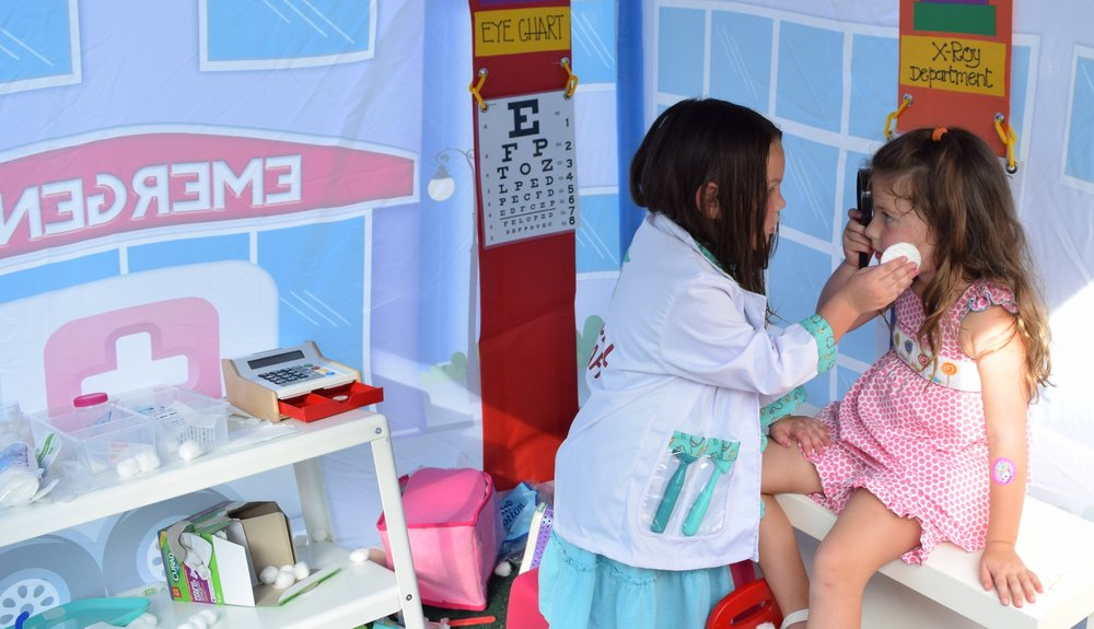 Play Doctor in our Hospital Themed Tent, full of tools and fun doctor dress up gear.