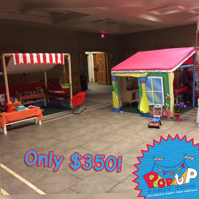 Book your Pop Up Party Town Corner today! Choose two tents for $350! How about the Construction Zone and Fire Station? or the Market and House? Any of our tents are fun, safe, and affordable! Pop Up Party Towns are the best for kids parties. Book your party today! #popupparty #popup #kidspartyideas #