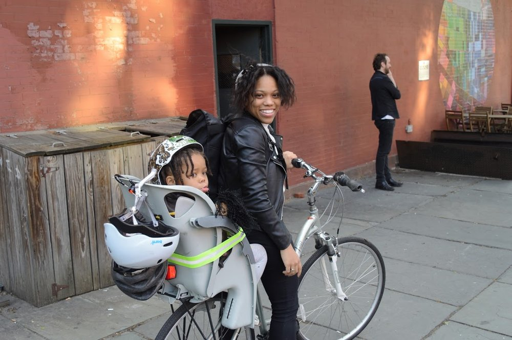 This was the first bike I had with Peyton and first Child Seat, we loved both so very much but unfortunately they were stolen in front of our apartment. Always lock your bike frame and both wheels! Her seat was a Co Pilot Taxi child seat and my bike was a fuji women's crosstown 1.0 hybrid bike.