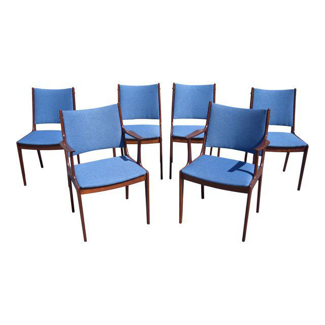 Vintage Johannes Andersen Rosewood Danish Modern Dining Chairs. Set Of 6