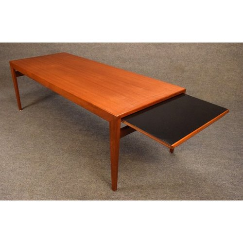 Vintage Mid Century Danish Modern Teak Coffee Table With Pull Out