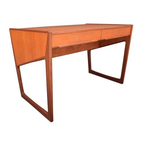 eec9dd19ef911 Vintage Danish Mid Century Modern Teak Writing Desk — Aymerick Modern