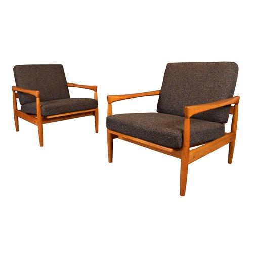 Pair Of Vintage Danish Mid Century Modern Oak Lounge Chairs By Erik