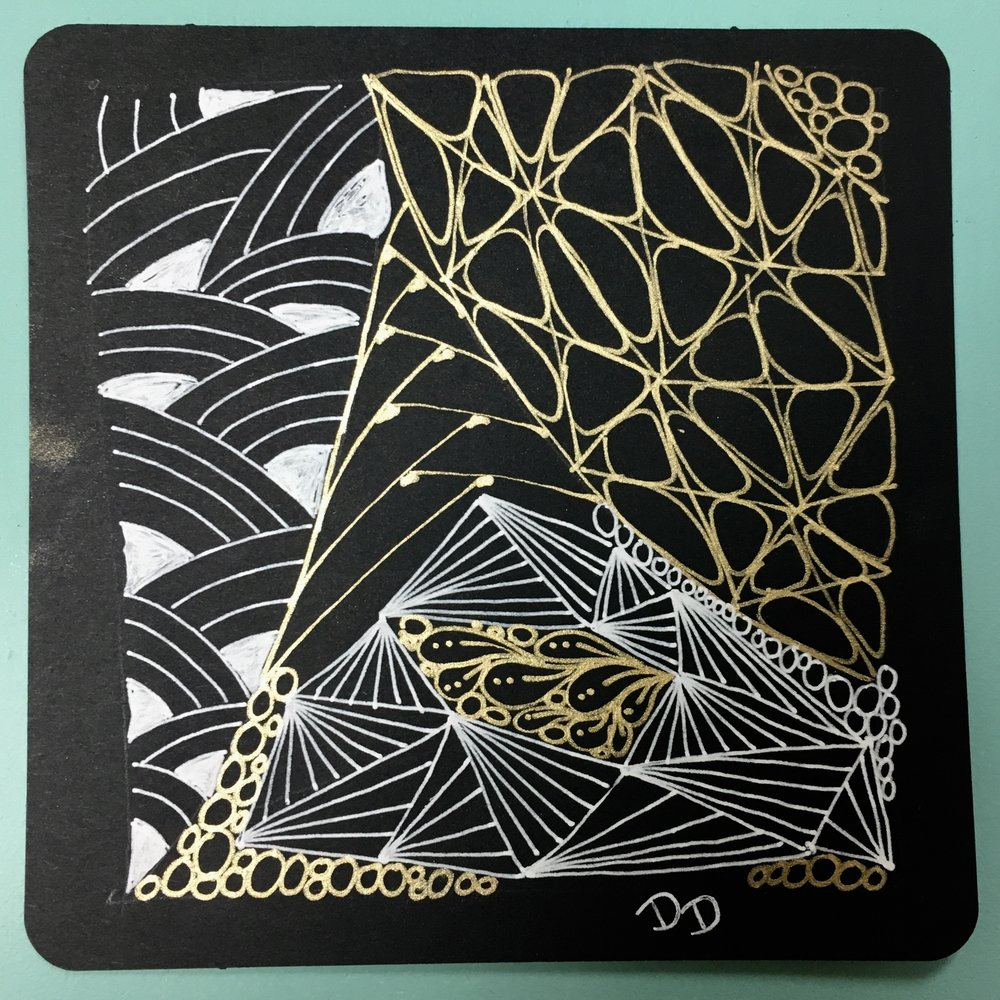 Zentangle Black& White - Intermediate class - Learn more tangles using black paper and white and gold gel pens for a dramatic look.Please note that the Zentangle Introduction Workshop is a prerequisite before taking this class.