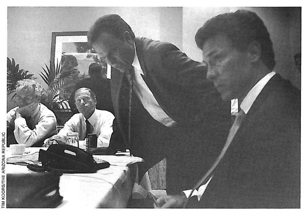"(Left to right): Former Maine Attorney General Jim Tierney, Connecticut Attorney General Richard ""Dick"" Blumenthal, Arizona Attorney General Grant Woods, and Mississippi Attorney General Michael ""Mike"" Moore poll the 39 states that sued the tobacco industry on their support for the settlement proposal. *"