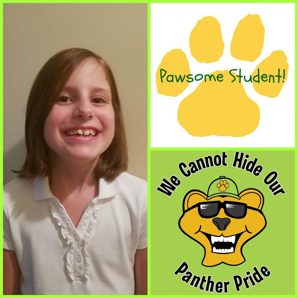 Meet PAWSOME STUDENT, Alonna Bryant! She designed this year's Spirit Shirt! Good job Alonna!