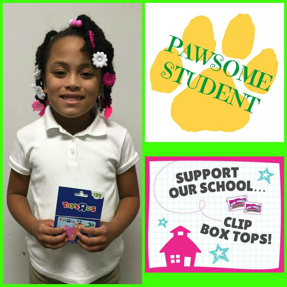 Asia Pearl from Mrs Arrighi's 1st grade class won a Toys R Us gift card in our Back to School Box Tops Drawing! Keep saving Box Tops! Our next collection contest will be in October!