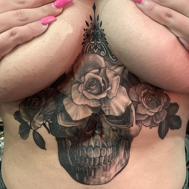 Josselyn had a biopsy when she was only months old. The procedure saved her life but also left her scarred. She had always disliked the appearance of the scar, causing issues with self perception and confidence. She was grateful for it but wanted to transform it into a piece of art. We were able to cover it using a skull and roses, signifying her near death experience and rejoice in life. Thank you @jossybabee . Done at #bodyelectrictattoo #tattoo . . . #tattooing #losangeles #losangelestattoo #latattoo #latattooartist #tattoos #losangelestattooartist #blackandgreytattoo #realismtattoo #sternumtattoo #skulltattoo #coverup #la #melrose #rayjtattoo #tattoowork #tattooworker #fineline #finelinetattoo #ink #stttab #ttt