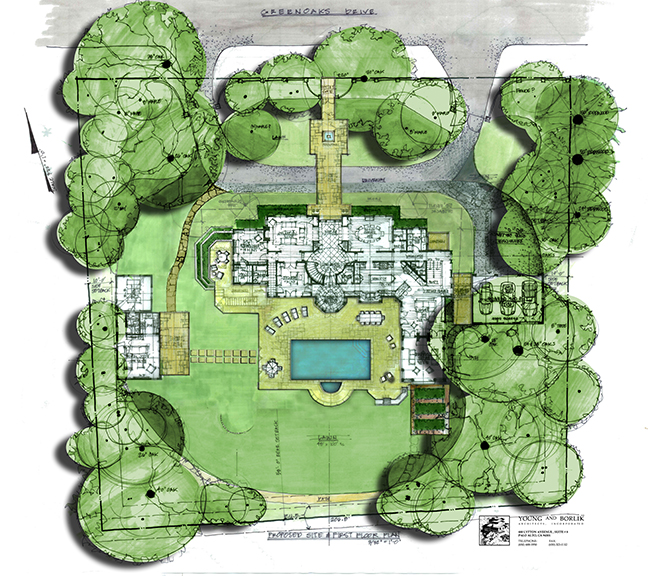 This site plan shows a new home within the overall property and heritage trees.