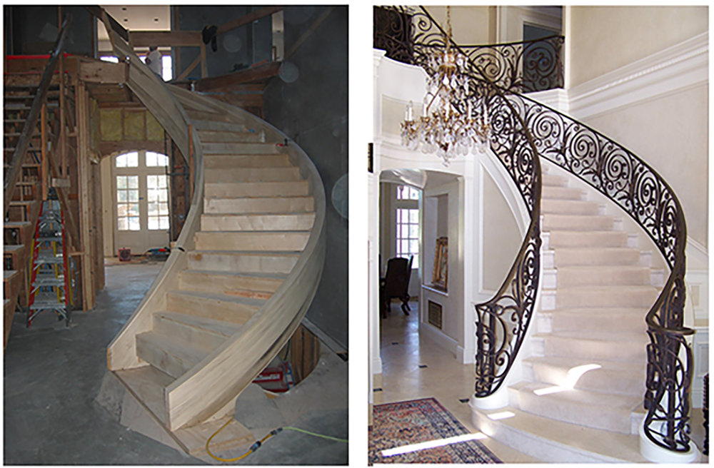 This beautiful curving staircase was designed by Young and Borlik for a French country style estate in Atherton.