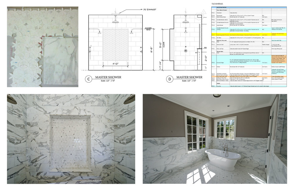 For this bathroom remodel, we designed the tile details and provided precise illustrations for the installers to follow.