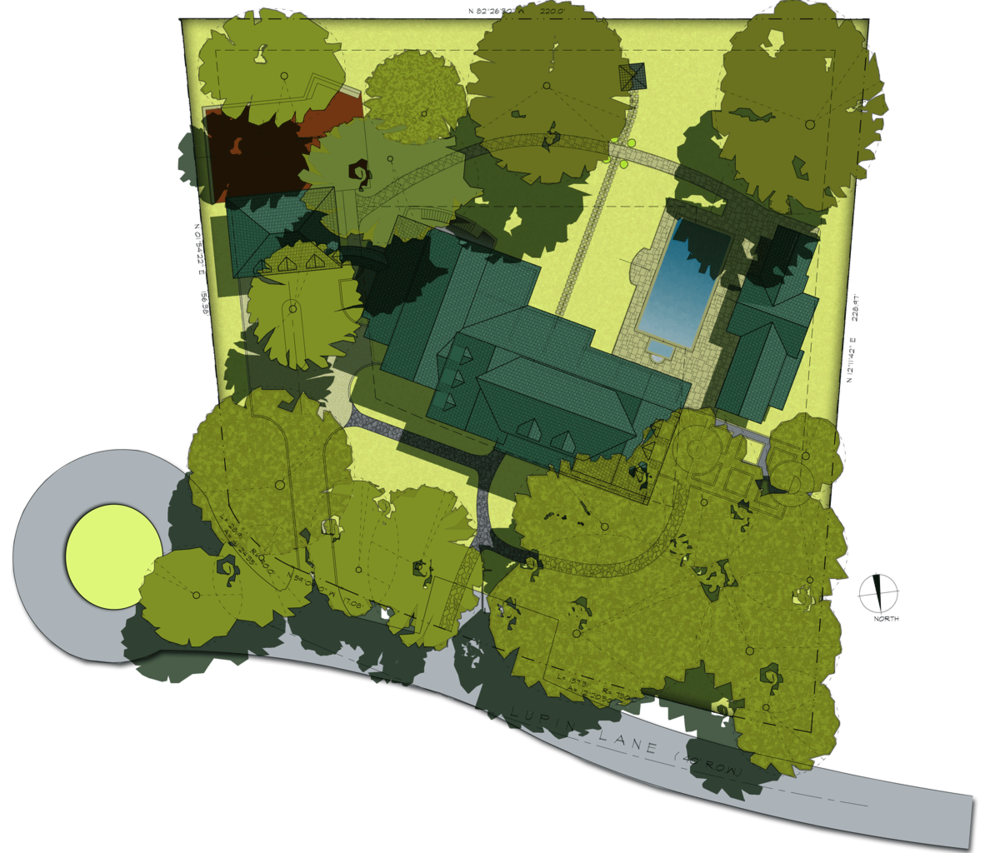 Young and Borklik created this site plan to show how the new home, the pool and the pool house would fit within the property and among the existing mature trees.
