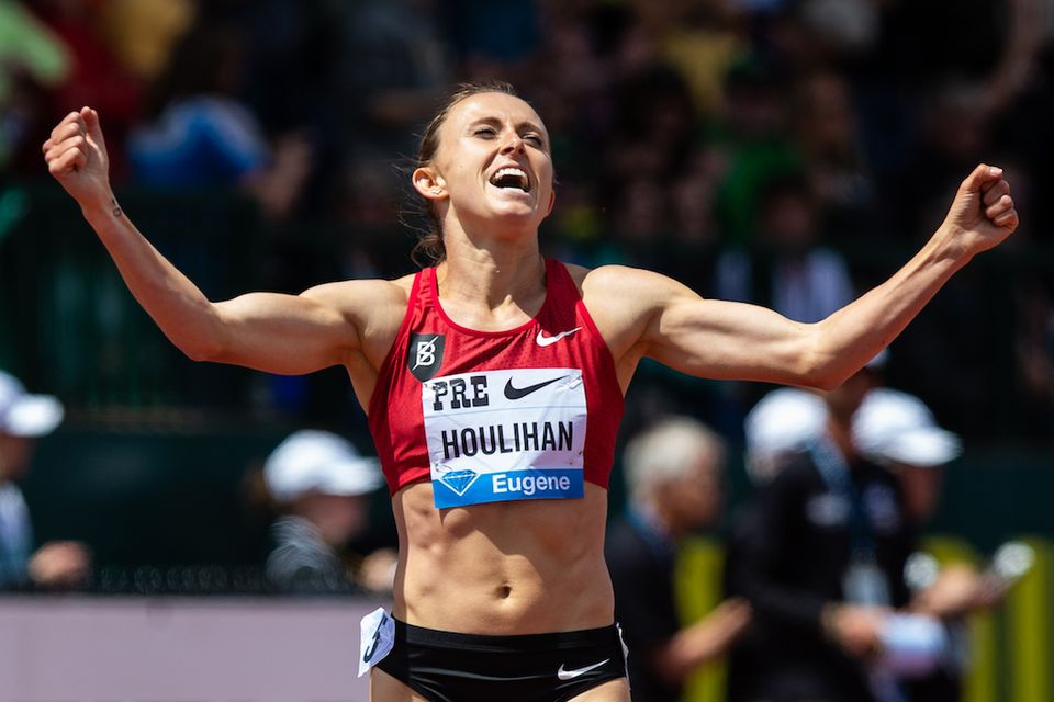 Shelby celebrating her victory at the 2018 Prefontaine Classic.