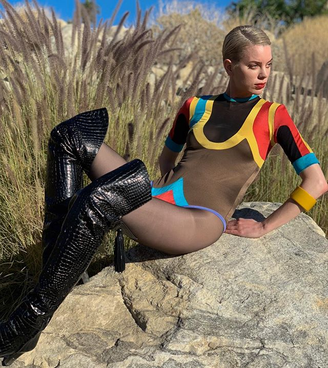 @_madieco_  channeling some serious Barbarella vibes in our vintage Giorgio di Sant' Angelo leotard paired with sickening pretty woman era #ysl boots. Get the look only @acurrentaffair sat/sun @cooperdesignspace downtown Los Angeles! #bestvintageunderoneroof