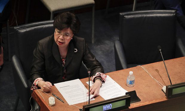 Margaret Chan, director general for the World Health Organization, speaking at another UN event on refugees and migrants. Photograph: Julie Jacobson/AP