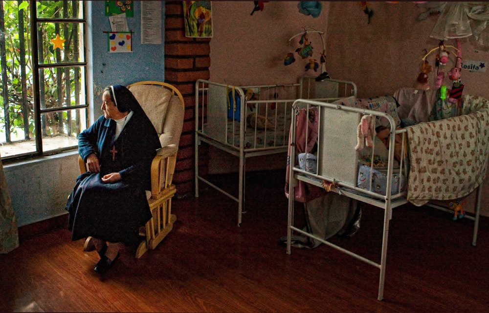 Nun in nursery
