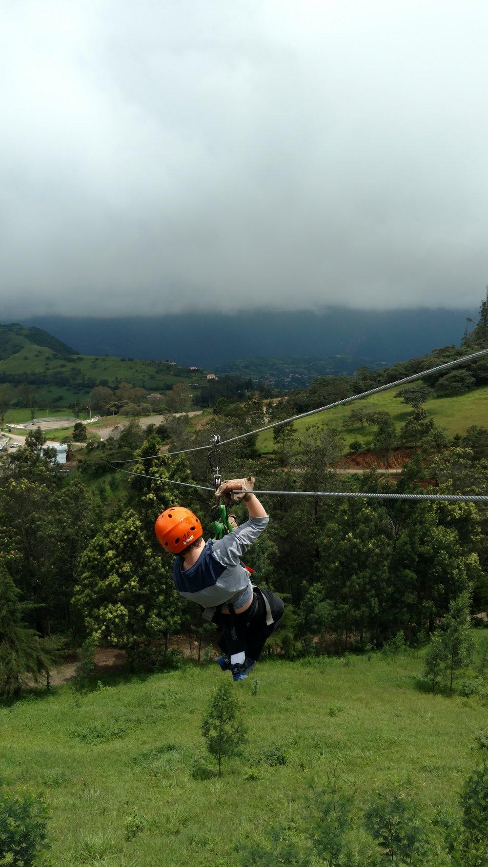 Ziplining in Ecuador