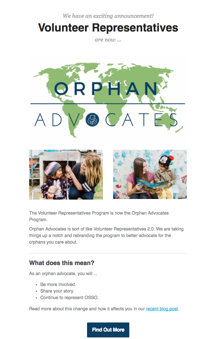 Volunteer representatives are now orphan advocates.