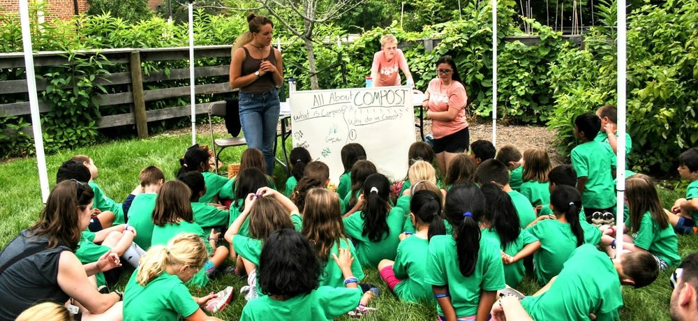 Katie teaches a group of Dublin Campers about the in's & out's of composting.