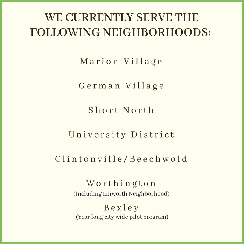 """The above neighborhoods are apart of what we call the """"High Street Corridor. The boundaries of the corridor are as follows: Marion Village & German Village on the South, all of Worthington on the North, the Olentangy River on The West, and the Railroad tracks just east of N. Fourth/Indianola on the East. Not sure if you fall within these boundaries?  Contact us , and we'll check for you."""