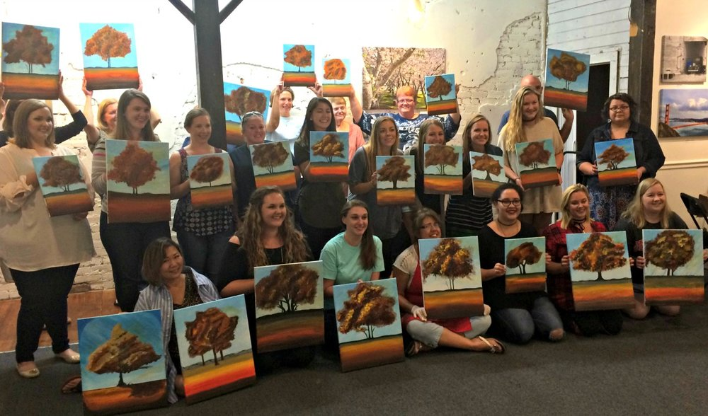 Everyone with their beautiful finished paintings.