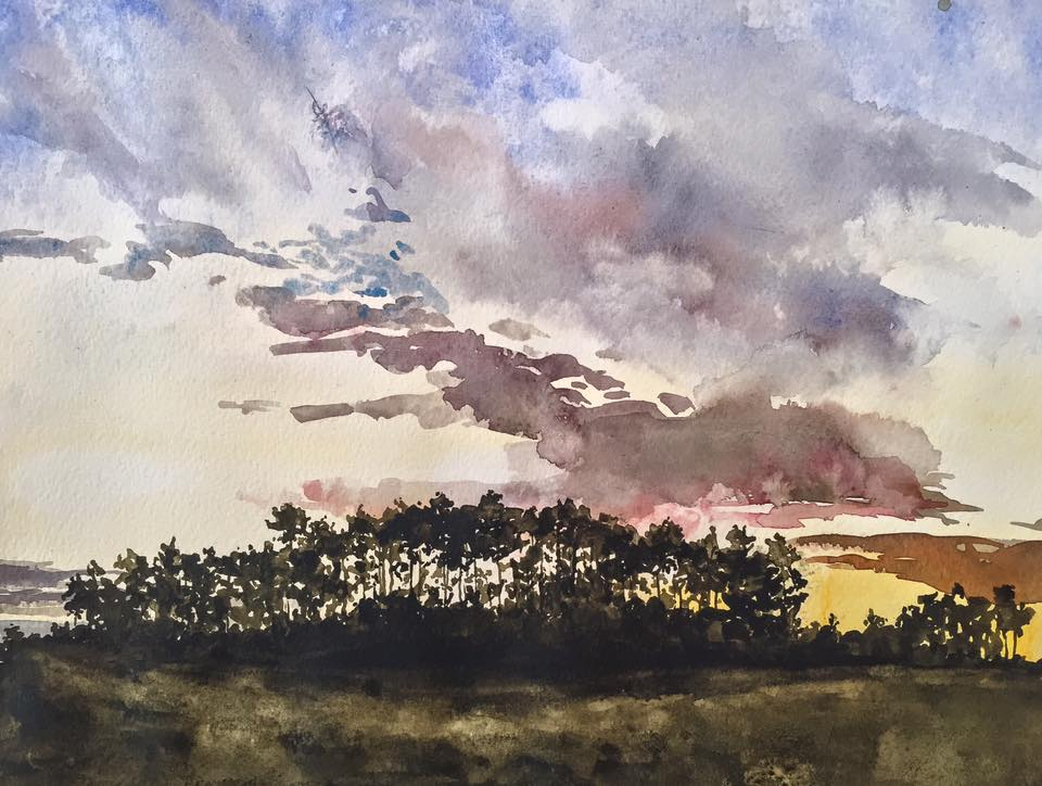 "Panhandle, Dawn , Watercolor painting, Eric O'Dell, 10"" x 13"""