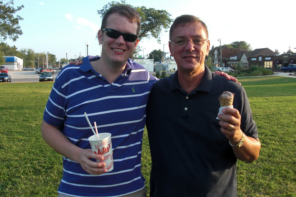My dad and me, Summer 2010.  If your dad's alive, go get ice cream with him.  If you've got children, take 'em to get a cone!