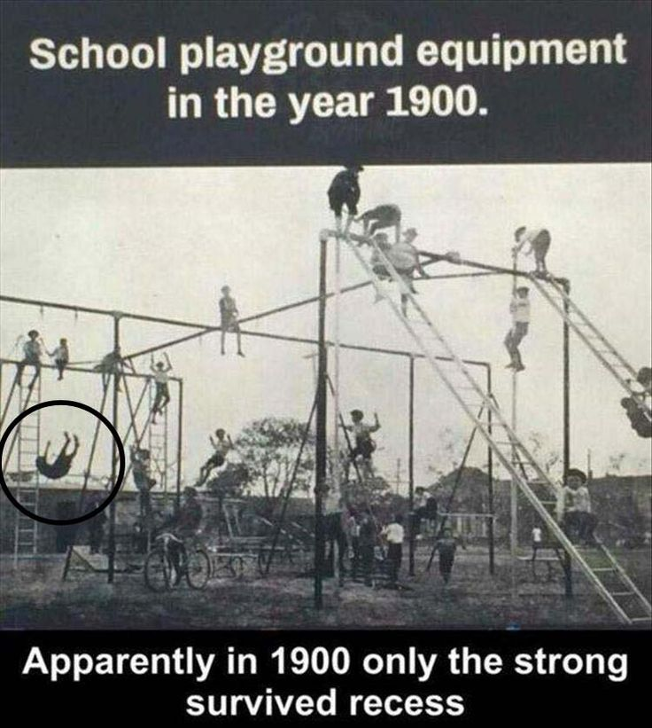 Although healthcare and insurance costs are bad and getting worse, playground equipment has steadily improved in the last 120 years.