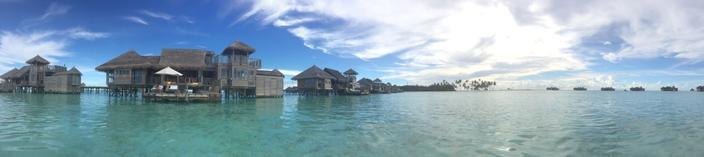 View of our residence from out in the crystal clear water of the Maldives