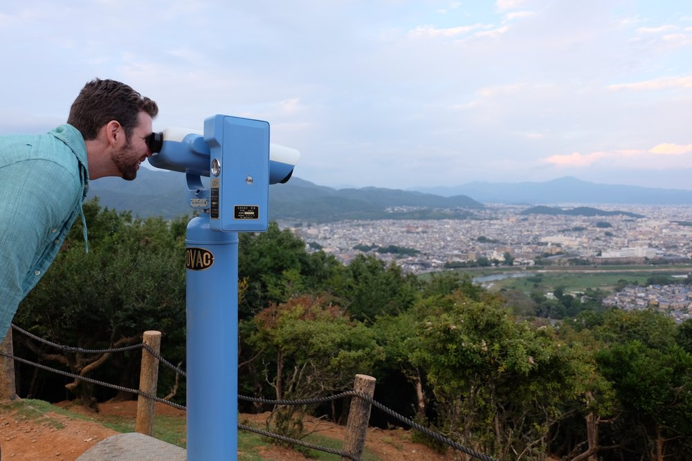 The view from the top of  a mountain in Kyoto