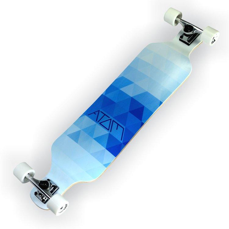 40020 atom drop deck longboard 39 inch blue triangles atom