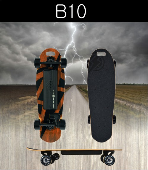 B10 SPECS:  Max Mileage* 6.2 miles / 10 km  Max Speed: 16 mph / 26 kmh  Max Grade** 12%  Max Rider Weight: 275 lb / 125 kg  Max Rec.Rider Weight: 200 lb / 91 kg    Board Weight: 11 lb / 5 kg  Deck Material: Maple  Deck Length: 29.5 in / 75 cm  Deck Width: 9.1 in / 23 cm    Battery Type: Lithium Ion (18650)  Battery Cells: 10S (Samsung)  Battery Ah: 2.5Ah  Battery Voltage (Nominal): 36V  Charger Voltage: 42V  Charger Output (Amps): 1A  Battery Wh: 90 Wh  Battery Charge Time: 2 hours  USB Charging Port?: No    Motor Type: Belt Drive / Brushless DC  Max Power Rating: 1000W  Braking Type: Regenerative Braking  Motor Sensors: -  Belt Specs: 225mm    Wheel Material: Super High Rebound PU  Wheel Dimensions: 80mm X 45mm  Wheel Hardness: 78A    Remote Battery Type: Rechargeable Li-Ion  ESC Software: Sine Wave (FOC)