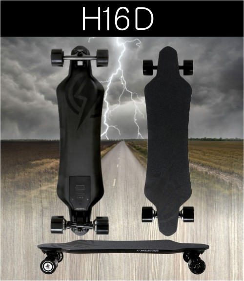 H16D SPECS:  Max Mileage* 12.4 miles / 20 km  Max Speed: 20 mph / 32 kmh  Max Grade** 15%  Max Rider Weight: 330 lb / 150 kg  Max Rec. Rider Weight: 275 lb / 125 kg    Board Weight: 13 lb / 6 kg  Deck Material: Carbon  Deck Length: 36.6 in / 93 cm  Deck Width: 9.4 in / 24 cm    Battery Type: Lithium Ion (18650)  Battery Cells: 10S X 2P (Sams 22P)  Battery Ah: 4.4 Ah  Battery Voltage (Nominal): 36 V  Charger Voltage: 42 V  Charger Output (Amps): 2 A  Battery Wh: 158 Wh  Battery Charge Time: 2 hours  USB Charging Port?: Yes 5V / 1.5A    Motor Type: Hub Drive / Brushless DC  Max Power Rating: Dual 700W  Braking Type: Regenerative Braking  Motor Sensors: Hall Sensors  Belt Specs: -    Wheel Material: Super High Rebound PU  Wheel Dimensions: 83mm X 56mm  Wheel Hardness: 78A    Remote Battery Type: AAA  ESC Software: Sine Wave (FOC)