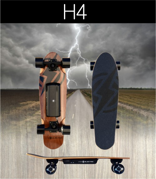 H4 SPECS:    Max Mileage * 4 miles / 7 km   Max Speed:  9.3 mph / 15 kmh   Max Grade ** 5%   Max Rider Weight:  220 lb / 100 kg   Max Rec. Rider Weight:  155 lb / 70 kg      Board Weight:  8 lb / 3.5 kg   Deck Material:  Maple   Deck Length:  27.6 in / 70 cm   Deck Width:  7.9 in / 20 cm      Battery Type:  Lithium Ion (18650)   Battery Cells:  7S (Samsung)   Battery Ah:  2.2 Ah   Battery Voltage (Nominal):  25.2 V   Charger Voltage:  29.4 V   Charger Output (Amps):  1 A   Battery Wh:  55 Wh   Battery Charge Time:  2 hours   USB Charging Port?:  No      Motor Type:  Hub Drive / Brushless DC   Max Power Rating:  400W   Braking Type:  Regenerative Braking   Motor Sensors:  Hall Sensors   Belt Specs: -       Wheel Material:  Super High Rebound PU   Wheel Dimensions:  70mm X 52mm   Wheel Hardness:  78A      Remote Battery Type:  AAA   ESC Software:  Pulse Width Modulation (PWM)