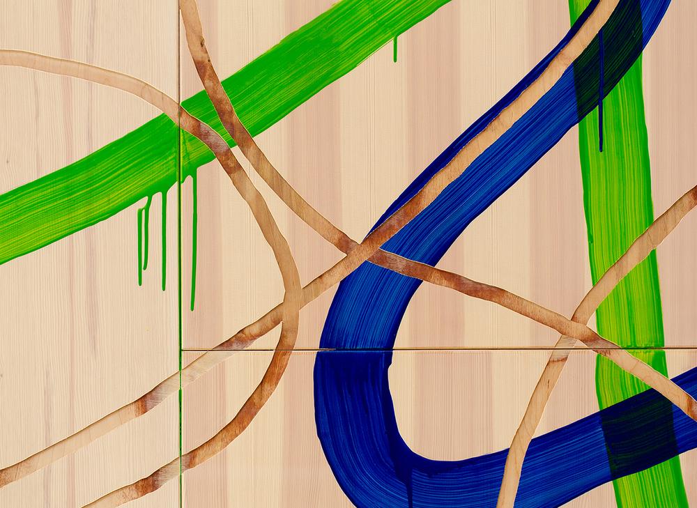 Utsnitt: Håndfreste linjer og maling på vegg. Foto: Håkon Øvermo