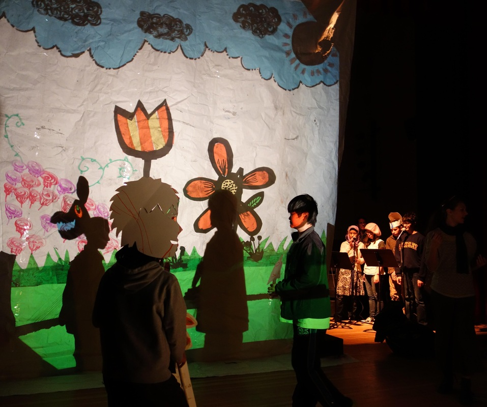 MLK MS student shadow play backstage
