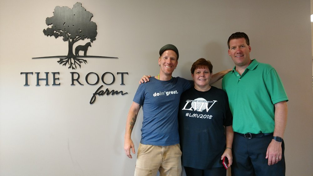 Jeremy & I with LMV Leader Ann.  She Looks Worried, But it was Just the Ropes Course. . .