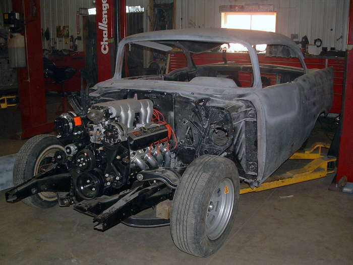 '57 Chevy- here we are mocking up the body to see what kind of hidden problems there might be
