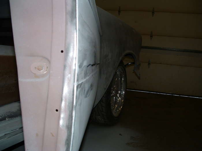'57 Chevy-This shows how thick the filler was and how high the overlay is.