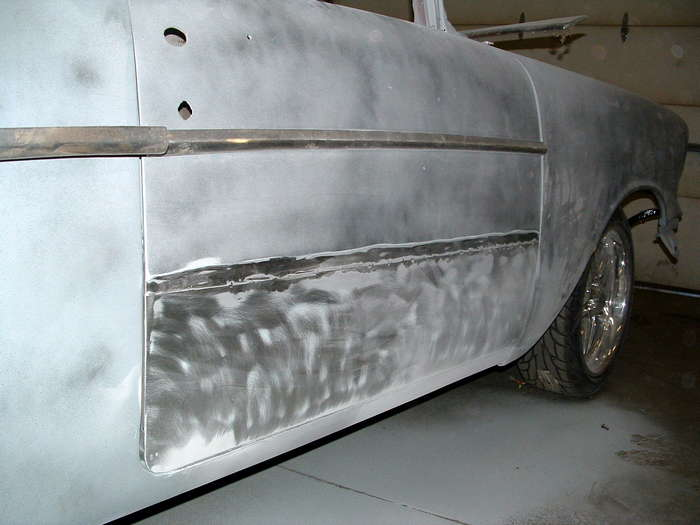 '57 Chevy-This panel was laid over the rust and welded on about every 3 inches a repair like this would not last long and must be repaired properly the joys of taking on someone else's nightmare