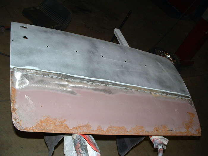 '57 Chevy-This is how the door looks once that overlay was removed that was a big patch for a very small spot of rust