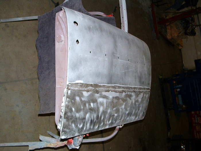 '57 Chevy-This shows the heavy bondo line in the middle of the door