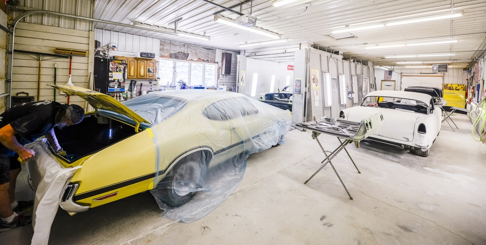 Painting and Sanding Area at Minnesota Hot Rod Factory