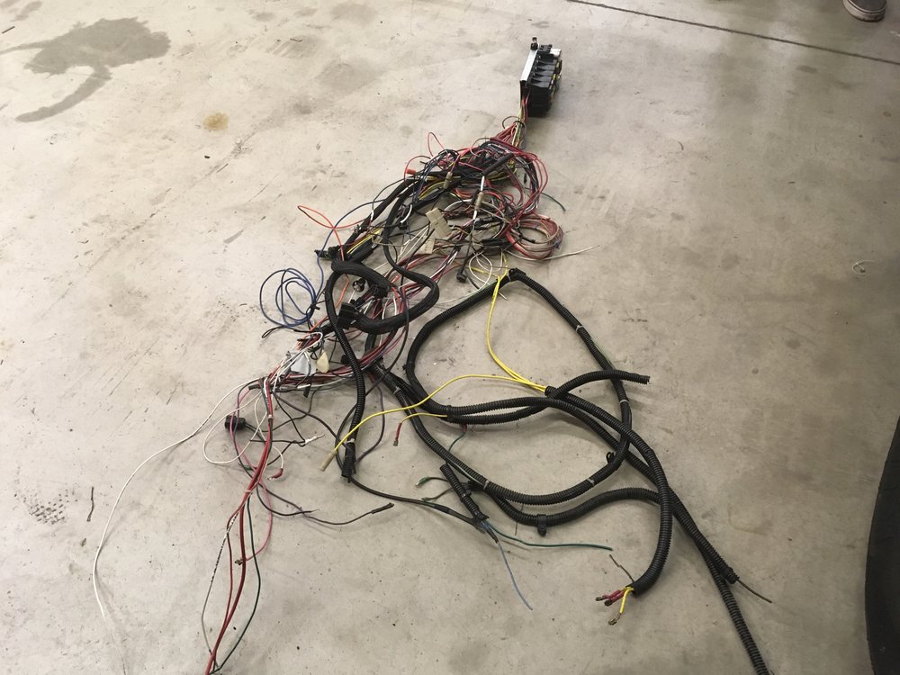 Check out this rats nest wire harness we pulled out of 1970 Plymouth Cuda