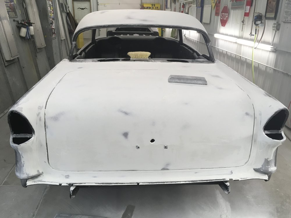 Block sanding 1955 Chevy