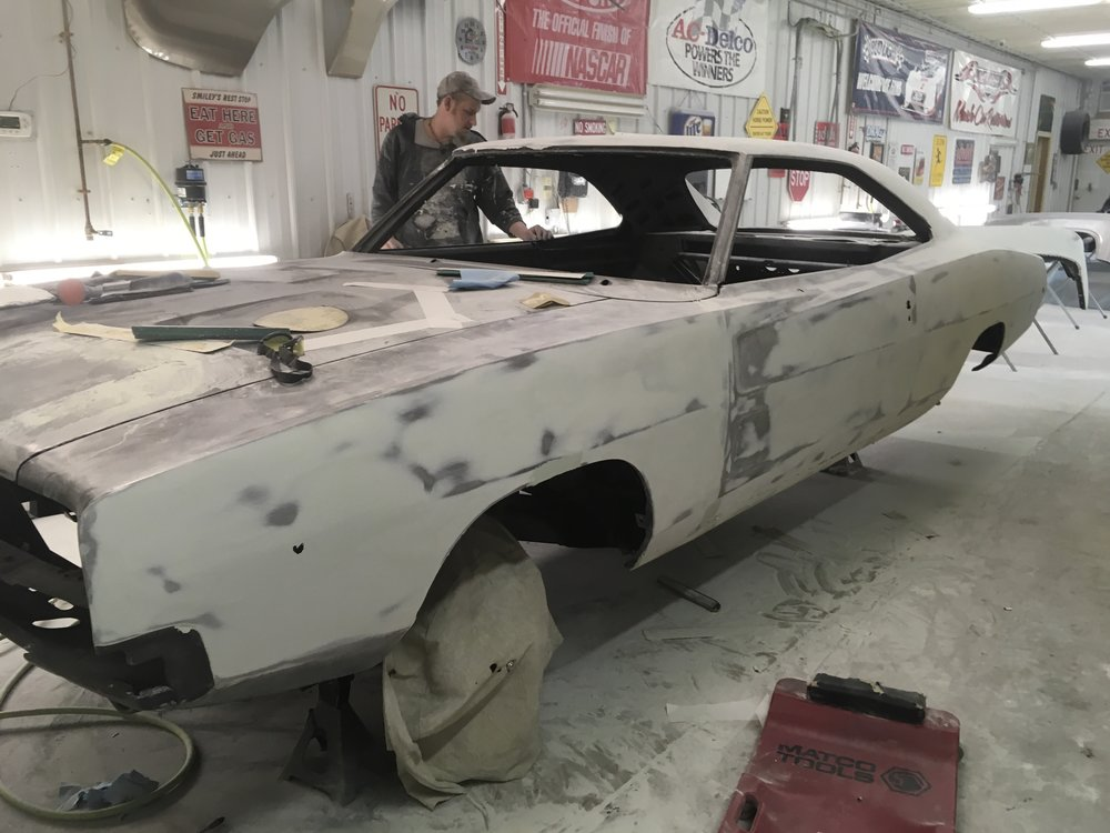Sanding bodywork on 1968 Charger