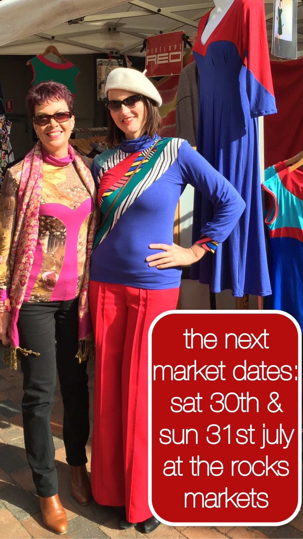 Leanne wears a one of a kind Penelope Red skivvy, and I wear the new Jigsaw Skivvy in Blue.