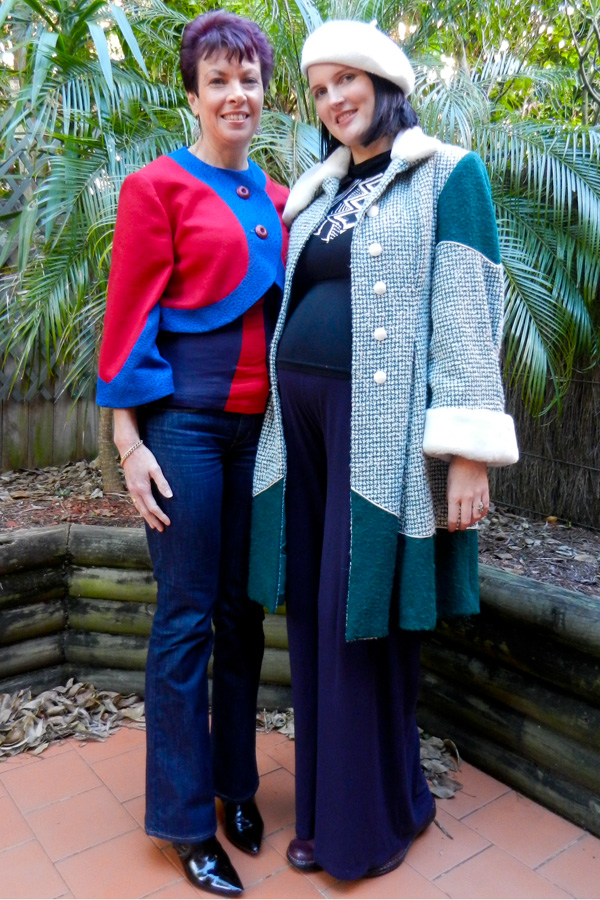 My Emerald Green Winter coat again... this time while I was heavily pregnant. Leanne wears a Penelope Red custom order bolero in red and blue.