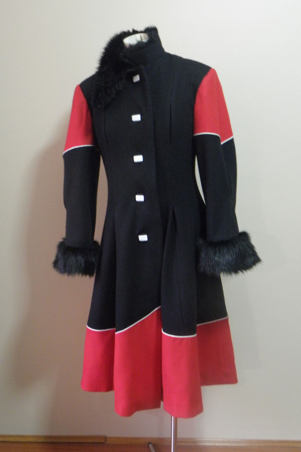 Teena's Black, Red and White Winter Coat is probably still one of my favourite versions! I love the white piping in between the red and black!