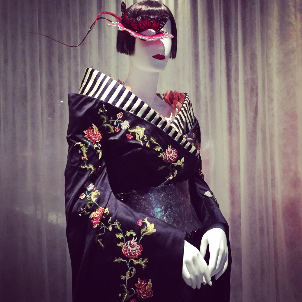 Hat by Philip Treacy, the kimono dress by Alexander McQueen for Isabella Blow.